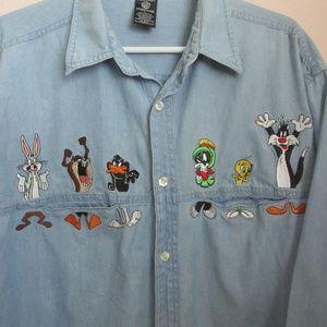 b790c064b Warner Bros. Tops   Tom And Jerry Warner Brothers Denim Shirt M ...